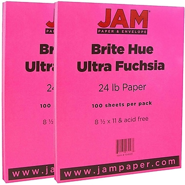 JAM Paper® Bright Color Paper, 8.5 x 11, 24lb Brite Hue Ultra Fuchsia Pink, 2 packs of 100 (184931g)