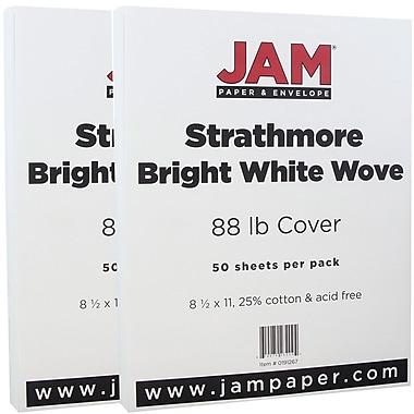 JAM Paper® Strathmore Cardstock, 8.5 x 11, 80lb Bright White Wove, 100/Pack (191267g)