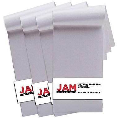 JAM PaperMD – Bloc papier Stardream métallique, 3 x 6 po, cristal, paq./4