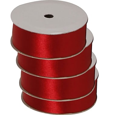 JAM Paper® Satin Ribbon, .88 Inch Wide x 7 Yards, Red, 4/Pack (2133716391g)