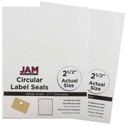 JAM Paper® Round Circle Label Sticker Seals, 2.5 inch diameter, White, 2 packs of 120 (2147615066g)