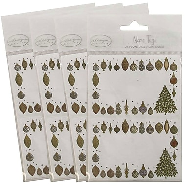 JAM Paper® Christmas Holiday Gift Label Name Tag Stickers, 2.25 x 3.5, Gold Ornament, 4 packs of 24 (2167213412g)