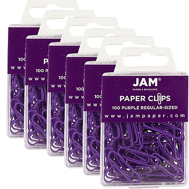 JAM Paper® Coloured Standard Paper Clips, Small, Purple Paperclips, 600/Pack (2183753g)