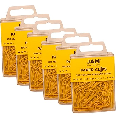 JAM Paper® Coloured Standard Paper Clips, Small, Yellow Paperclips, 600/Pack (2183756g)