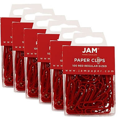 JAM Paper® Coloured Standard Paper Clips, Small, Red Paperclips, 600/Pack (2185200g)