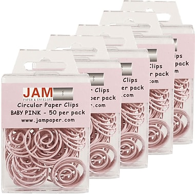 JAM Paper® Circular Coloured Papercloops, Baby Pink Round Paper Clips, 250/Pack (2187132g)