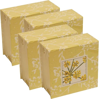 JAM Paper® Paper Pads, 4 x 4 Cube, Yellow, 4/Pack (2191815325g)