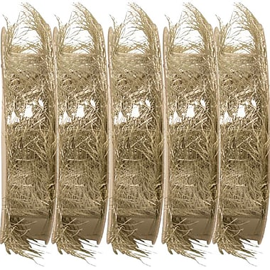 JAM Paper® Feather Ribbon, 3 Yards per spool, Silver Metallic, 5/Pack (2209816338g)
