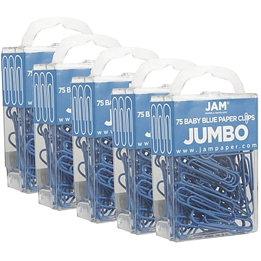 JAM Paper® Coloured Jumbo Paper Clips, Large, Baby Blue Paperclips, 75/Pack (221819034g)