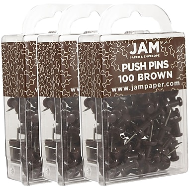 JAM Paper® Push Pins, Chocolate Brown Pushpins, 300/Pack (222419049g)