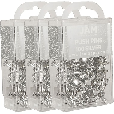 JAM Paper® Push Pins, Shiny Silver Pushpins, 300/Pack (222419054g)