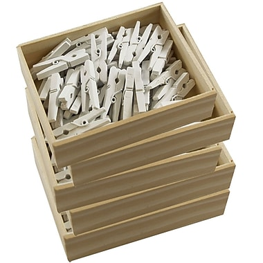 JAM Paper® Wood Clothing Pin Clips, Medium 1 1/8, White, 250/Pack (2230719109g)