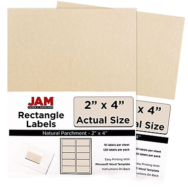 JAM Paper® Mailing Address Labels, 3 1/3 x 4, Natural Parchment, 2 packs of 120 (2275083g)