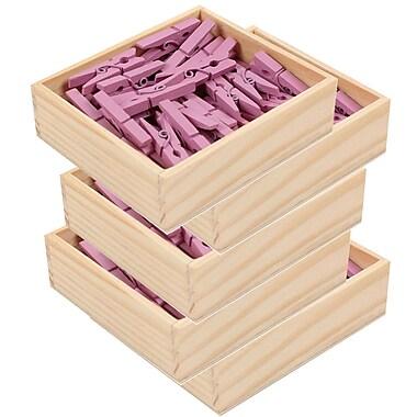 JAM Paper® Wood Clothing Pin Clips, Medium 1 1/8, Lavender Purple, 5 packs of 50 (230726780g)