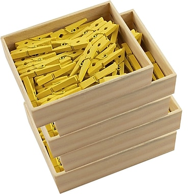 JAM Paper® Wood Clothing Pin Clips, Medium 1 1/8, Yellow, 5 packs of 50 (230726782g)