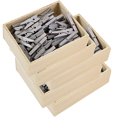 JAM Paper® Wood Clothing Pin Clips, Small 7/8, Silver, 5 packs of 50 (230726887g)