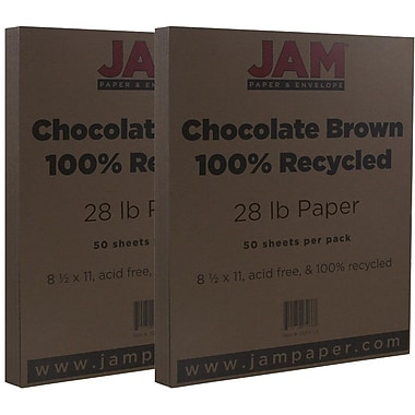 JAM Paper® Matte Paper, 8.5 x 11, 28lb Chocolate Brown, 2 packs of 50 (233723g)