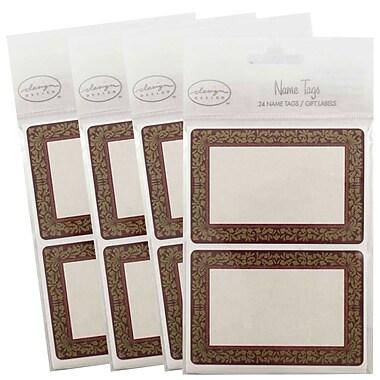 JAM PaperMD – Étiquettes-cadeaux porte-nom avec décoration florale, 2 1/4 x 3 1/2 po, 2/page, 96/paquet