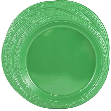 JAM Paper® Round Plastic Plates, Small, 7 Inch, Green, 100/Pack (255328195g)