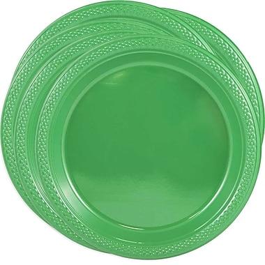 JAM Paper® Round Plastic Plates, Medium, 9 Inch, Green, 5 packs of 20 (255328197g)