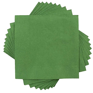 JAM Paper® Small Beverage Napkins, Small, 5 x 5, Green, 10 packs of 50 (255628199g)