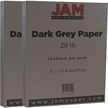 JAM Paper® Matte Paper, 8.5 x 11, 28lb Dark Grey, 2 packs of 50 (26396470g)