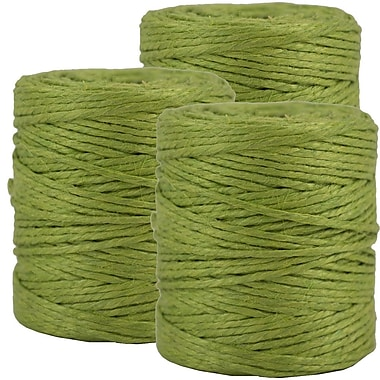 JAM PaperMD – Ficelle kraft de jute naturel, 3 plis, vert lime, 219 pi (long.), 3/paquet