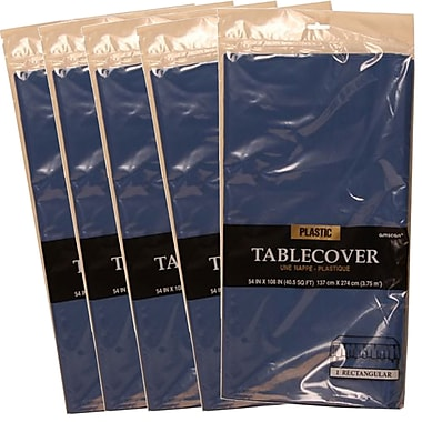 JAM Paper® Plastic Table Covers, Blue Table Cloths, 5/Pack (291423353g)