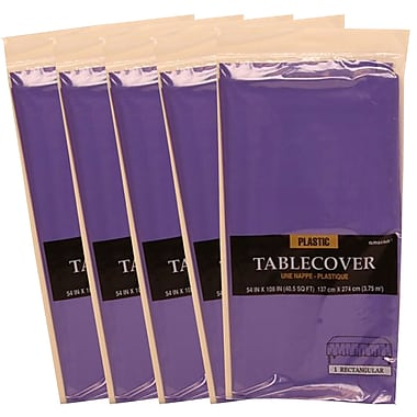 JAM Paper® Plastic Table Covers, Purple Table Cloths, 5/Pack (291423359g)