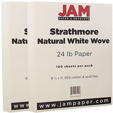JAM Paper® Strathmore Paper, 8.5 x 11, 24lb Natural White Wove, 2 packs of 100 (300033g)