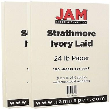 JAM Paper® Strathmore Paper, 8.5 x 11, 24lb Ivory Laid, 2 packs of 100 (300181g)