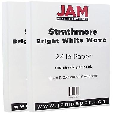 JAM Paper® Strathmore Paper, 8.5 x 11, 24lb Bright White Wove, 2 packs of 100 (300220g)