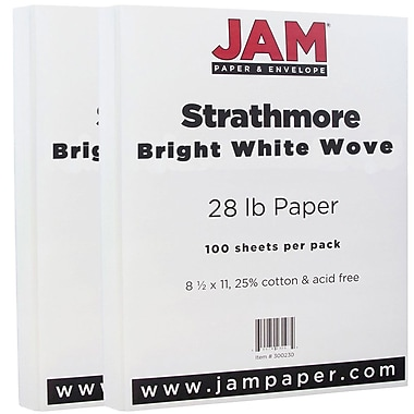 JAM Paper® Strathmore Paper, 8.5 x 11, 28lb Bright White Wove, 2 packs of 100 (300230g)