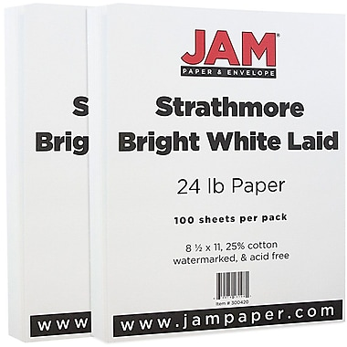 JAM Paper® Strathmore Paper, 8.5 x 11, 24lb Bright White Laid, 2 packs of 100 (300420g)