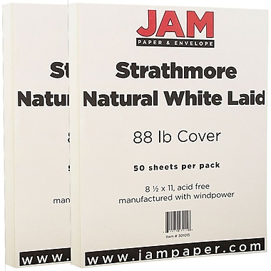 JAM Paper® Strathmore Cardstock, 8.5 x 11, 88lb Natural White Laid 100/Pack (301015g)