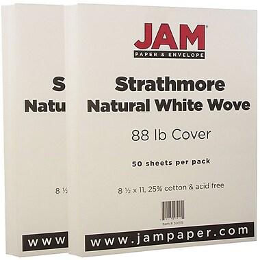 JAM Paper® Strathmore Cardstock, 8.5 x 11, 80lb Natural White Wove, 100/Pack (301115g)