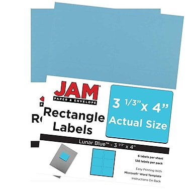 JAM Paper® Mailing Address Labels, 3 1/3 x 4, AstroBrights® Lunar Blue, 2 packs of 120 (302725770g)