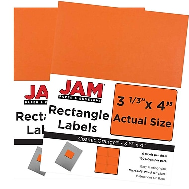JAM Paper® Mailing Address Labels, 3 1/3 x 4, AstroBrights® Cosmic Orange, 2 packs of 120 (302725786g)