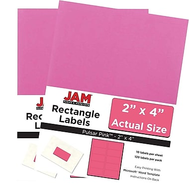 JAM Paper® Mailing Address Labels, 2 x 4, AstroBrights® Pulsar Pink, 2 packs of 120 (302725797g)