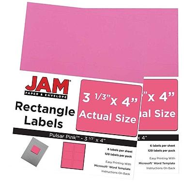 JAM Paper® Mailing Address Labels, 3 1/3 x 4, AstroBrights® Pulsar Pink, 2 packs of 120 (302725799g)