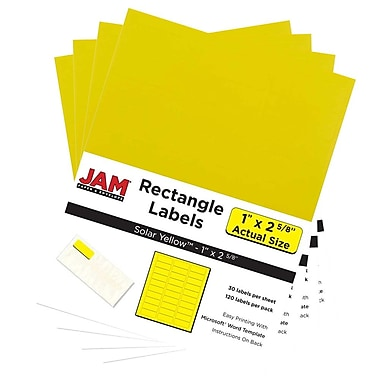 JAM Paper® Mailing Address Labels, 1 x 2 5/8, AstroBrights® Solar Yellow, 4 packs of 120 (302725801g)