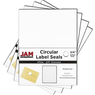 JAM Paper® Round Circle Label Sticker Seals, 3/4, White, 4 packs of 120 (3147612190g)