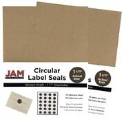 JAM Paper® Round Circle Label Sticker Seals, 1 2/3 inch diameter, Brown Kraft, 240/Pack (3147612192g)