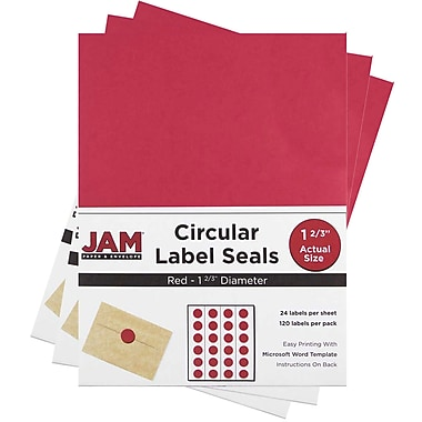 JAM Paper® Round Circle Label Sticker Seals, 1 2/3 inch diameter, Red, 3 packs of 120 (3147612194g)