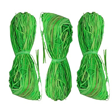 JAM Paper® Wraffia Ribbon Bundle, 1.7 oz, Lime Green, 3/Pack (3190215236g)