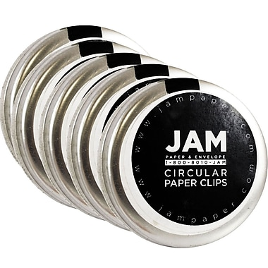 JAM Paper® Circular Coloured Papercloops, Silver Round Paper Clips, 250/Pack (321814885g)