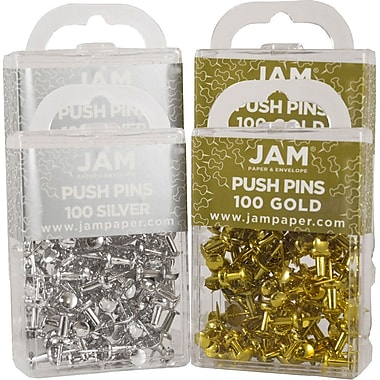 JAM Paper® Push Pins, Gold and Silver Pushpins, 200 of each Colour, 400/set (322419056g)