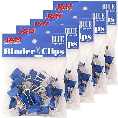 JAM PaperMD – Petites pinces relieuses, 3/4 po (19 mm), bleu, 125/paquet