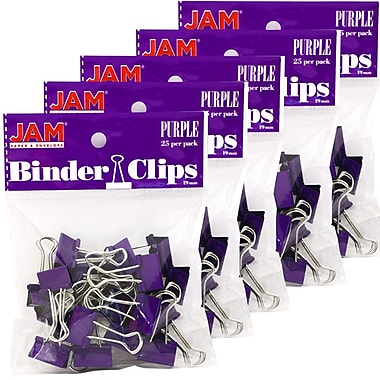 JAM Paper® Binder Clips, Small, 19mm, Purple Binderclips, 5 packs of 25 (334BCPUg)