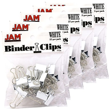 JAM Paper® Binder Clips, Small, 19mm, White Binderclips, 5 packs of 25 (334BCWhg)